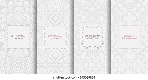 Set of seamless patterns in light grey color. Collection of vector backgrounds. Abstract geometric design. Decorative frames in lilac colors.