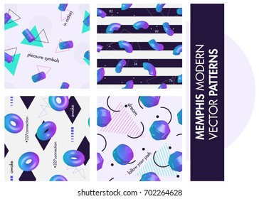 Set of seamless patterns. Modern 3d memphis style. Holographic 80s and 90s fashion fabric and paper swatches.