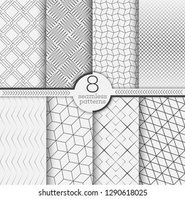 Set of seamless patterns. Modern elegant textures. Regularly repeating geometrical linear ornaments with thin lines, rhombuses, diamonds, grids, zigzags, hexagons. Vector element of graphical design
