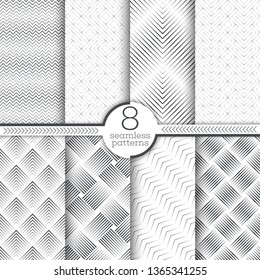 Set of seamless patterns. Modern elegant textures. Regularly repeating geometrical linear ornaments with thin lines, rhombuses, diamonds, grids, zigzags, corners. Vector element of graphical design