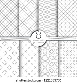 Set of seamless patterns. Modern simple linear textures. Regularly repeating geometrical ornaments with thin lines, grids, rhombuses, zigzags, crosses, stars. Vector element of graphical design