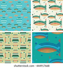 Set of seamless patterns on the theme of the underwater world. Flocks of fish, jellyfish.