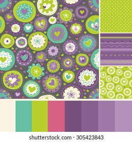 set of seamless patterns with palette. It can be used for cloth, jackets , bags , notebooks , cards, envelopes , pads , blankets , furniture, packing