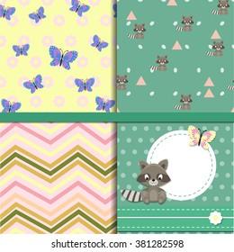 set of seamless patterns raccoon