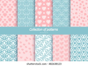 Set of seamless patterns. Romantic background with pastel colors. Backdrop with hearts and stylized flowers. Delicate ornament for design. Vector illustration.