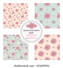 Set of seamless patterns with roses on different backgrounds - pink, beige and blue. Placed randomly and in geometric order.
