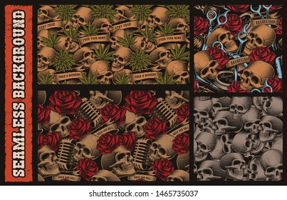 Set of seamless patterns with with skulls on the themes of barbershop, hemp, music. Each pattern is in a separate group.