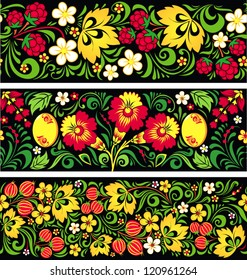 Set of seamless patterns in traditional russian style Hohloma (a brand of Russian traditional ornaments used for painting on wooden things - spoons, dishes, etc.)