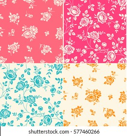 Set of seamless patterns with vintage roses. Vintage background with blooming flower silhouette. Beautiful floral wallpaper for wedding design