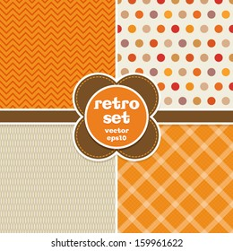 Set of seamless retro backgrounds in autumn colors. Great for Thanksgiving, greeting cards, surface textures. See my folio for more in this series and for JPEG versions.