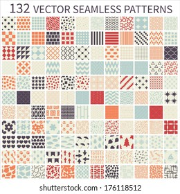Set of seamless retro vector geometric, polka dot, floral, decorative patterns.