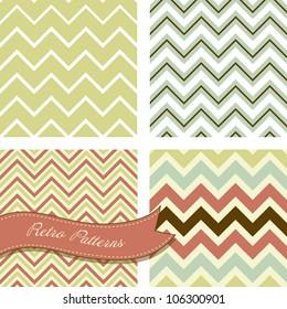 A set of seamless retro Zig zag patterns