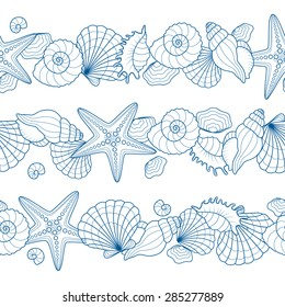 Set of seamless ribbons with seashells and starfishes. Abstract vector summer seamless background on a sea subject.
