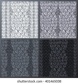 Set of Seamless Six-Stitch Cable Stitch Patterns. Twisting to the left cables. Rope cables. Vector monochrome stitches. Boundless background can be used for web page backgrounds and invitations.