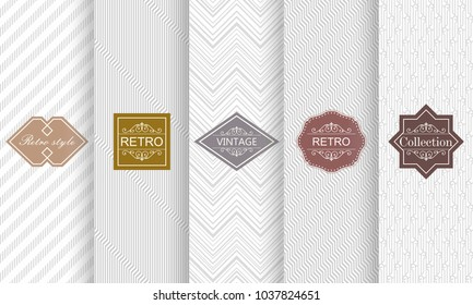 Set of seamless stripe patterns in light gray. Vector illustration vintage design. Abstract seamless geometric patterns