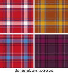 Set of seamless tartan patterns for design