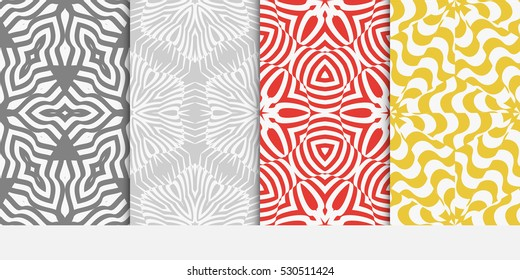 set of Seamless texture of floral ornament. Optical illusion. Vector illustration. For the interior design, printing, web and textile