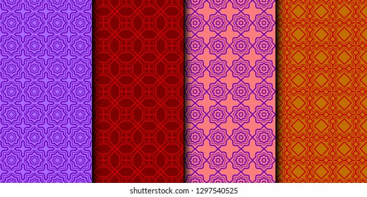 Set Of Seamless Texture Of retro geometric Ornament. Vector Illustration. For The Interior Design, Printing, Web And Textile