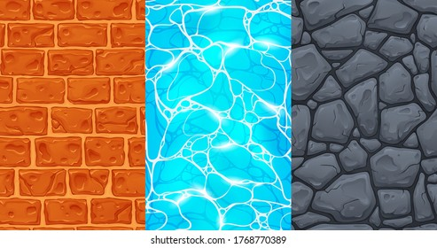 Set of seamless textures for game development in casual style - stone road, brick wall, blue water