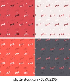 Set of seamless textures with the word sale in pink, red, gray and bright red colors.