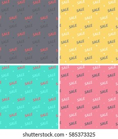 Set of seamless textures with the word sale in pink, gray and purple, yellow and blue colors.
