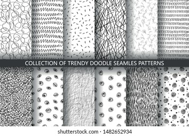 Set of seamless trendy abstract hand-drawn patterns. Vector modern creative backgrounds