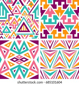 Set of Seamless Triangles Patterns. Vector Backgrounds for Textile Design. Geometric Abstract Textures