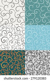 Set of seamless vector backgrounds with swirls