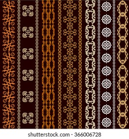 Set of seamless vector borders with ethnic motifs and geometrical ornaments. Safari collection. Golden on dark brown.