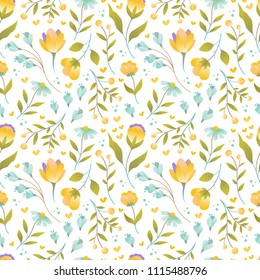 Set of seamless vector floral patterns, spring/summer backdrop. Hand drawn surface pattern design with flowers in garden. Seamless texture perfect for wallpapers,web backgrounds, surface textures.