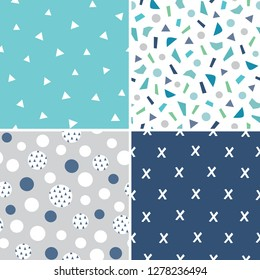 Set of seamless vector geometric backgrounds in aqua blue, teal and gray for men, boys and baby. Includes triangles, polka dots and confetti for textiles, cards, gift wrapping paper, wallpapers.