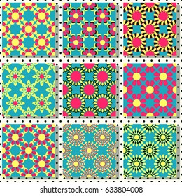 Set of seamless vector illustrations. Abstract shapes and decorative flowers