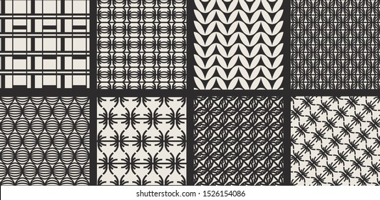 Set of seamless vector monochrome patterns. Collection of geometric backgrounds for fabric, textile, wrapping, cover, web etc. 10 eps design.