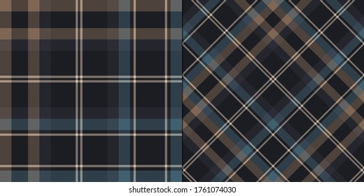 Set of seamless vector multicolor black and blue plaid patterns. Tartan backgrounds. Classic pattern. For fabric, design, textile, wrapping, cover etc.