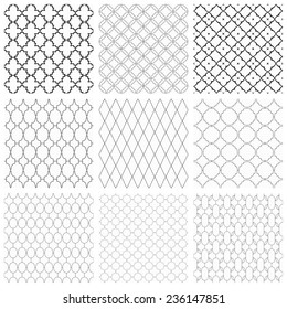 Set of seamless vector ornamental patterns. Black and white texture.