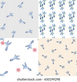 Set of seamless vector pattern with birds