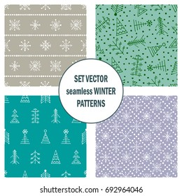 Set of seamless vector patterns with fir-trees, snowflakes. seasonal winter background with cute hand drawn fir trees Graphic illustration. Series of winter seamless vector patterns.