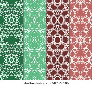 Set of seamless vector patterns. Geometric floral pattern of lines and shapes. Modern design for backgrounds, wallpaper, invitations.