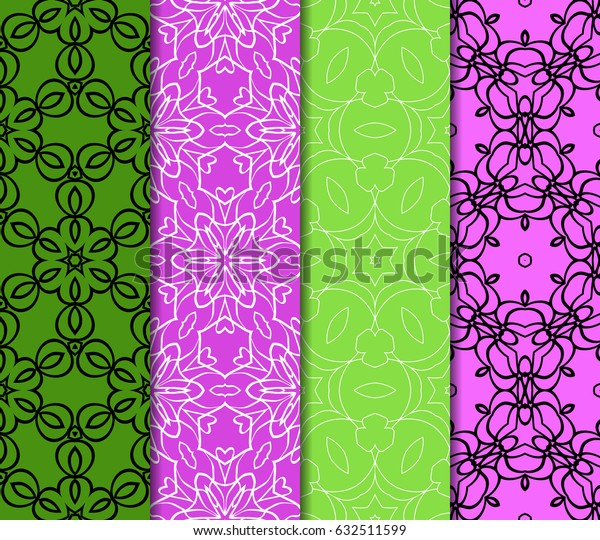 Set of seamless vector patterns. Geometric pattern of lines and shapes. Modern design for backgrounds, wallpaper, invitations.
