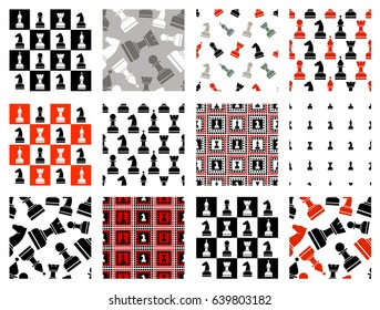 Set of seamless vector patterns with icons of chess. Endless backgrounds. Graphic illustration. Series of gaming and dambling seamless vector patterns.