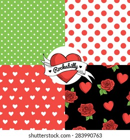 Set of seamless vector patterns. Rockabilly style.