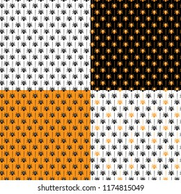 Set of seamless vector patterns with spiders. Seamless background for halloween. Good for packaging design, halloween packaging paper, thematical background