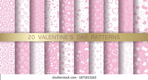 Set of seamless vector pink patterns. Valentine's day backgrounds. For wrapping, cover, fabric, textile etc. Collection of 20 stylish hearts patterns.