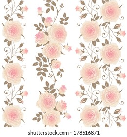Set of seamless vertical floral patterns. Branches of roses on a white background. Vector borders with climbing roses.