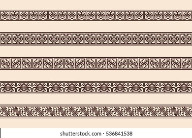Set of seamless vintage ornament with elements of Greek and Gothic style. Brown pattern on a beige background.