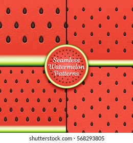 Set of seamless watermelon patterns.