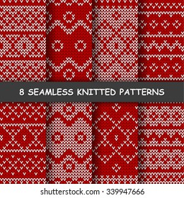 Set with seamless winter patterns. Red and white knitted background in scandinavian style.