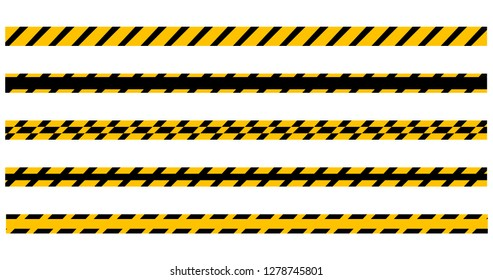 Set of seamless yellow and black warning tapes ready for your text. Vector illustration Isolated on white background.