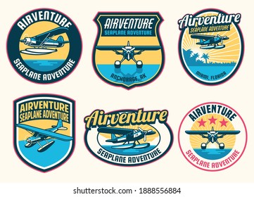 set of seaplane badge design collection