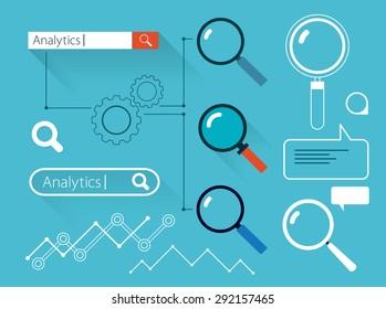 Set of search flat web design elements